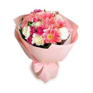 alluring gerbera and carnation bouquet by farm florist