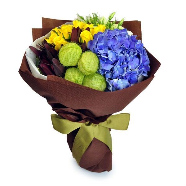 vibrant pride 12 yellow roses 1 blue hydrangea 4 cotton milkbush by farm florist singapore