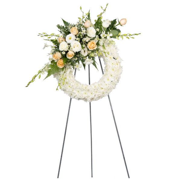 In loving memory condolence flower stand by farmflorist